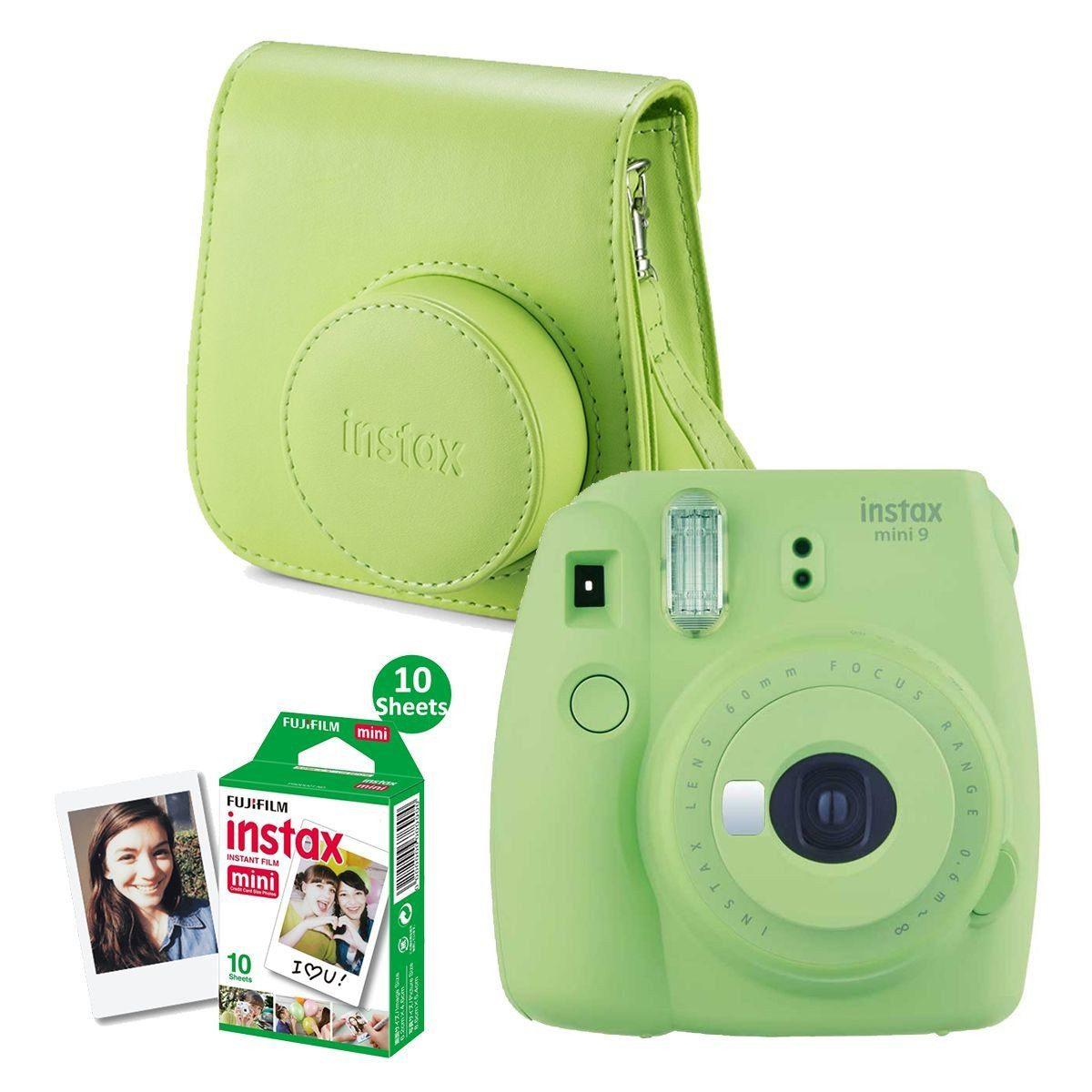Fujifilm Instax Mini 9 Lime Green + Recarga Instax 10 Unidades + Estojo