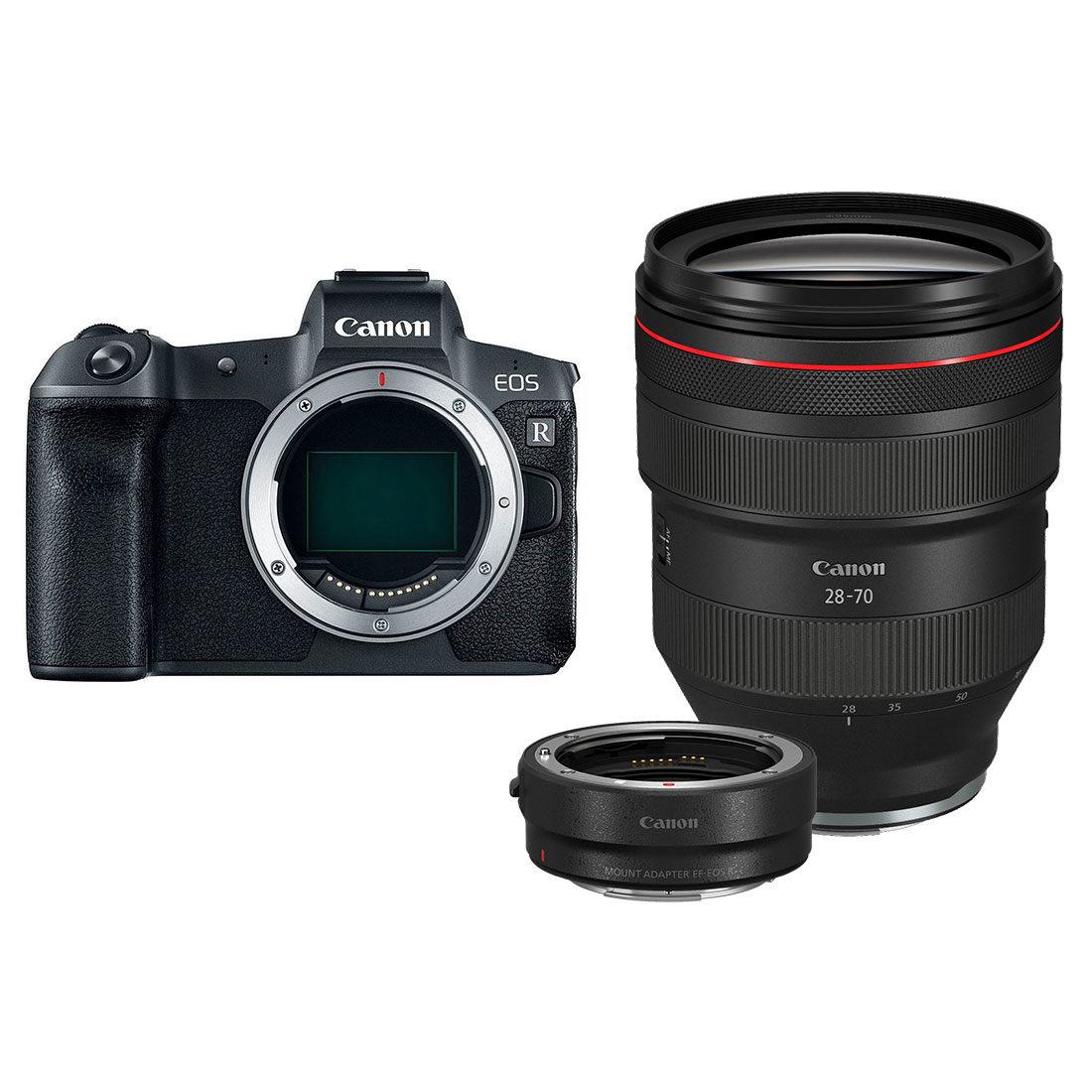 Canon EOS R preta + adaptador RF 28-70mm f / 2.0L + EF