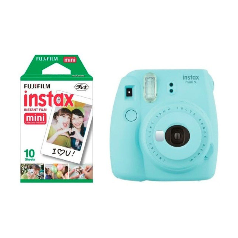 Fujifilm Instax Mini 9 Ice Blue + Recarga Instax 10 Unidades + Estojo