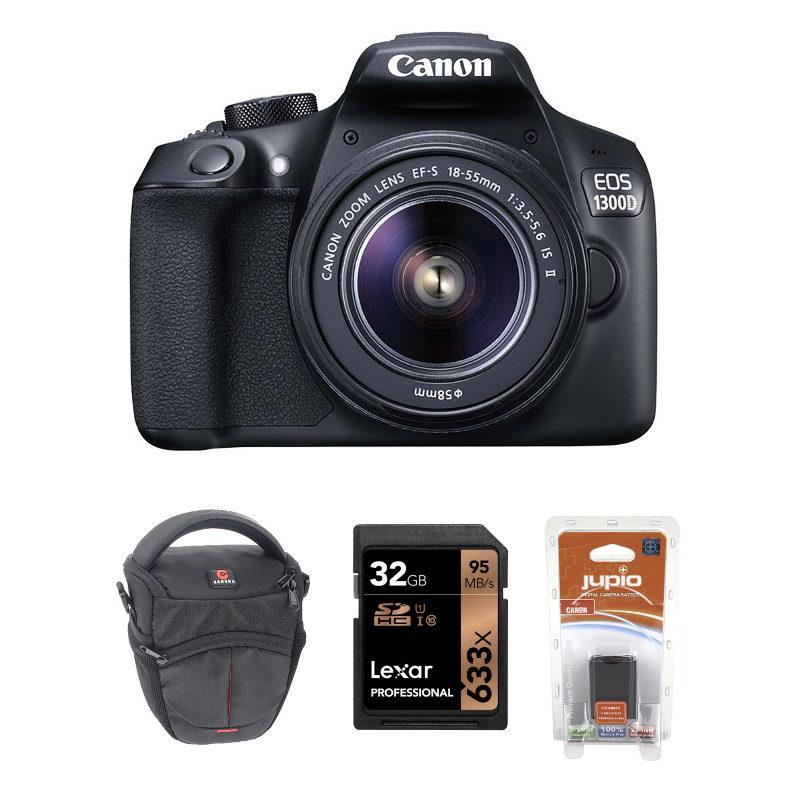 Canon EOS 1300D + 18-55 IS II + Estojo + Cartão de memória + Bateria extra