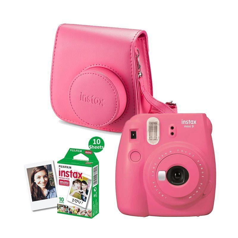 Fujifilm Instax Mini 9 Flamingo Pink + Recarga Instax 10 Unidades + Estojo