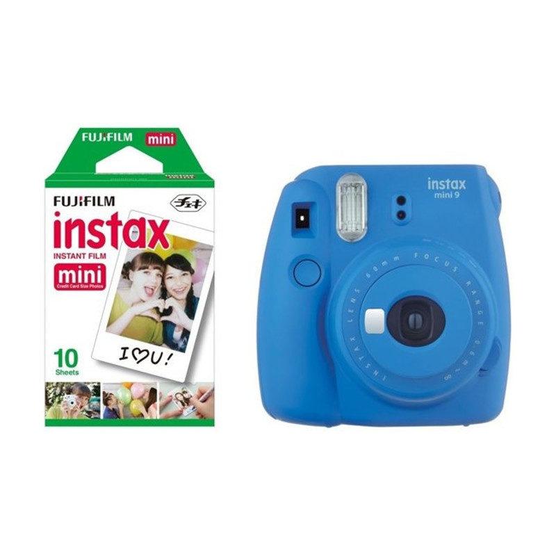 Fujifilm Instax Mini 9 Cobalt Blue + Recarga Instax 10 Unidades + Estojo