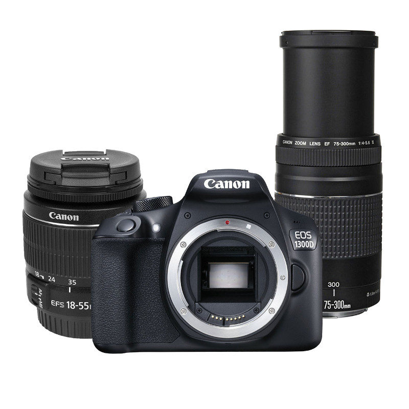 Canon EOS 1300D DSLR + 18-55mm + Canon EF 75-300mm f/4.0-5.6 III