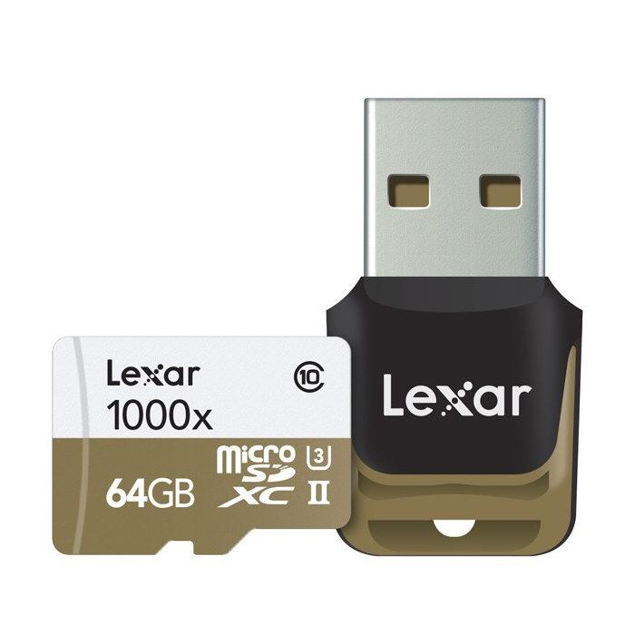 Lexar Cartão micro SDXC UHS-2 de alta velocidade 64GB 1000x + adaptador