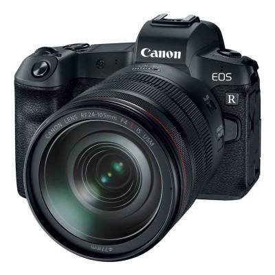 Canon EOS R preta + caixa aberta do adaptador RF 24-105mm f / 4.0L + EF
