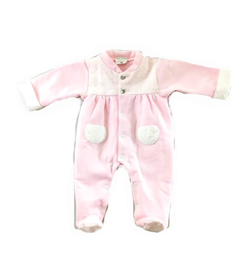 Babygrow rosa bolinhas