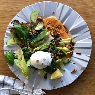 Salada de Burrata com Molho Romesco