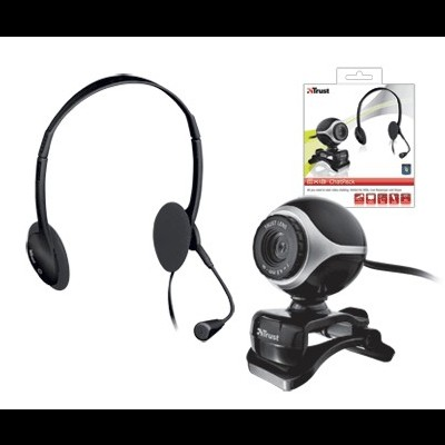 Webcam+AuricularTRUST Exis Chatpack - Black - 17028