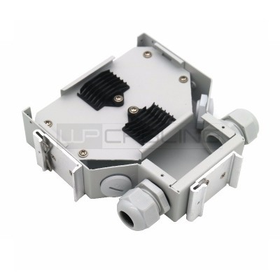 DIN Rail dist.Box with 6SC simplex/LC duplex,6SC duplex front panel without adapter,Grey RAL 7035