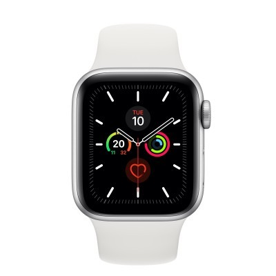 Apple Watch Series 5 GPS, 40mm Silver Aluminium Case c/ White Sport Band