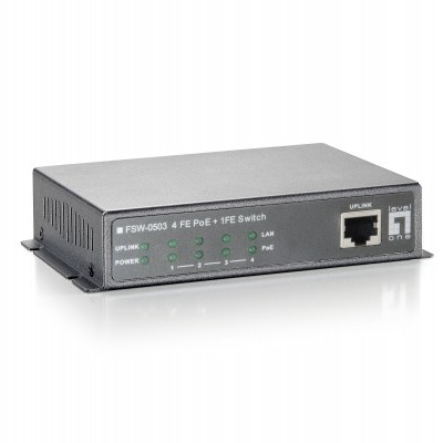 Switch LEVEL ONE 5 Port PoE with 4 10/100Mbps Ports & 1 10/100Mbps Uplink - FSW-0503