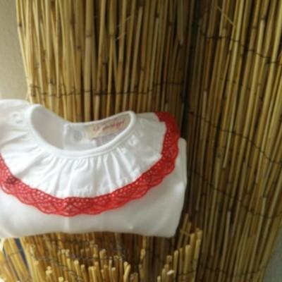 Camisola Gola Renda Vermelho