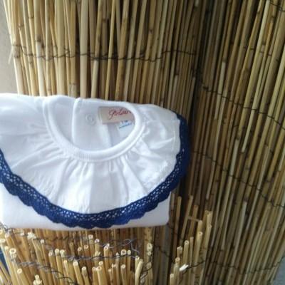 Camisola Gola Renda Azul Marinho
