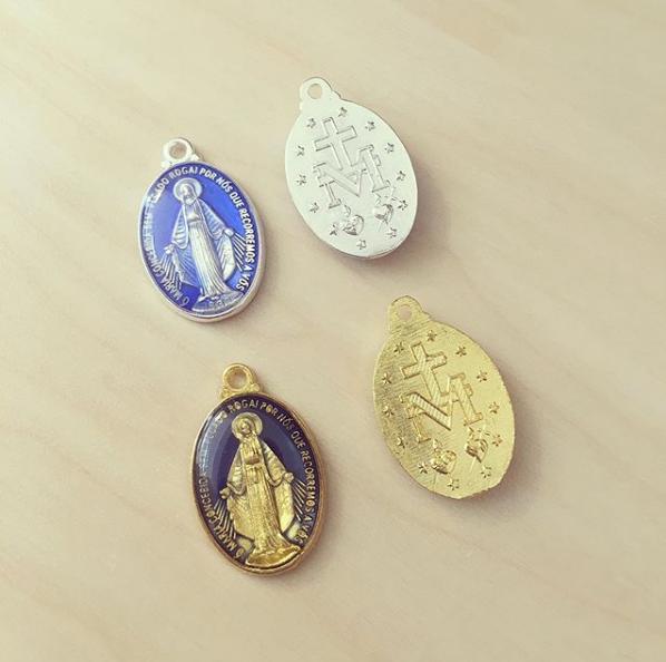 Medalha Oval Nossa Senhora Esmalte Azul