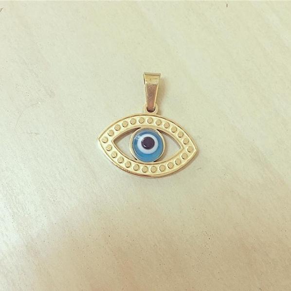 Olho em Aço Dourado e Azul
