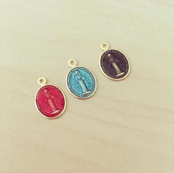 Medalha Oval Esmaltada Nossa Senhora