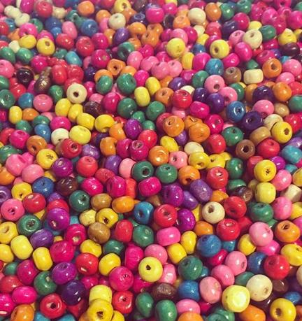 Contas em Madeira Multicolor 6mm