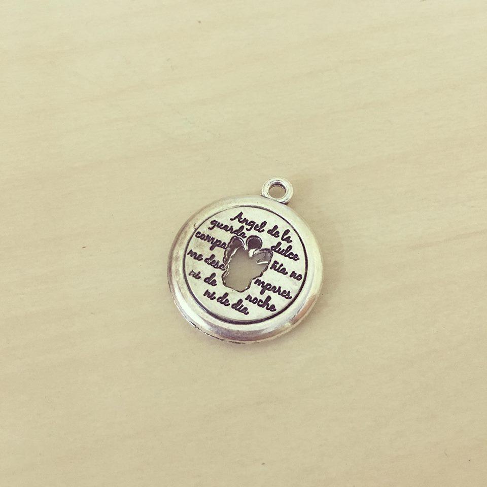 Medalha Oração Anjo da Guarda Contorno Prateado