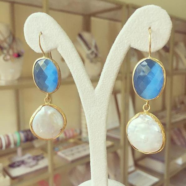 Brincos Pérola e Pedra Azul