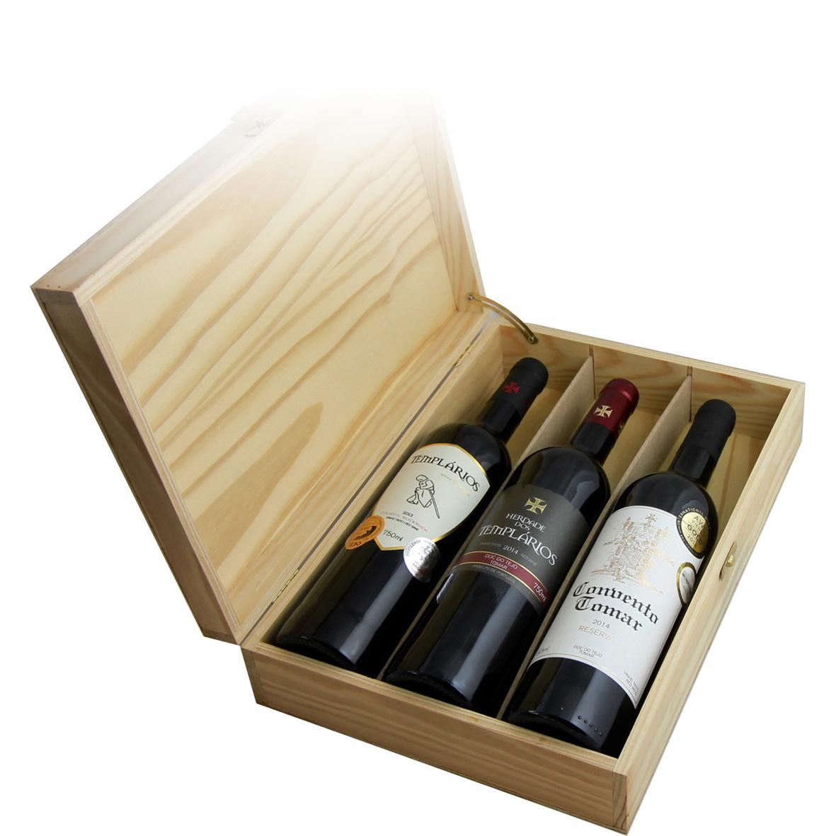 Mala madeira em pinho com 3 vinhos