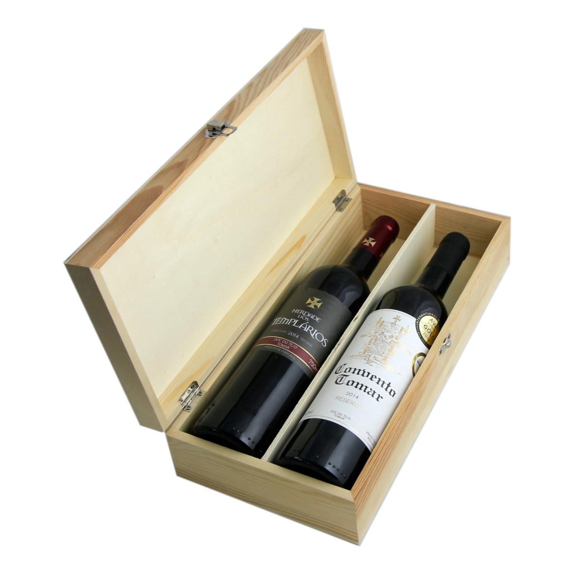 Mala madeira em cru com 2 vinhos