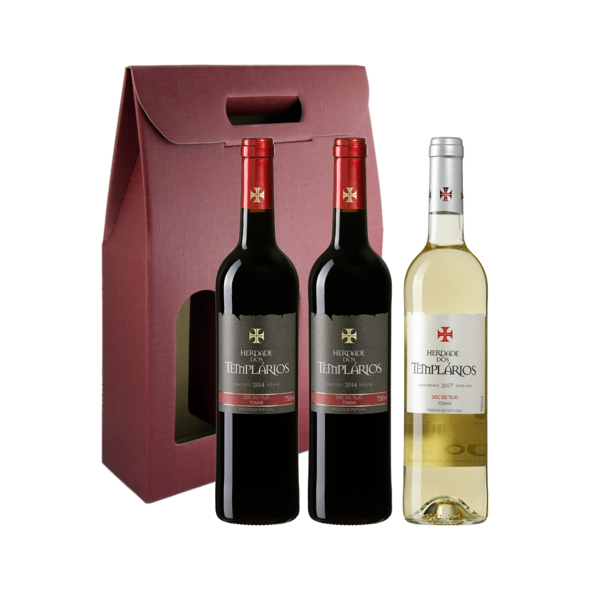 Caixa cartão com 3 vinhos