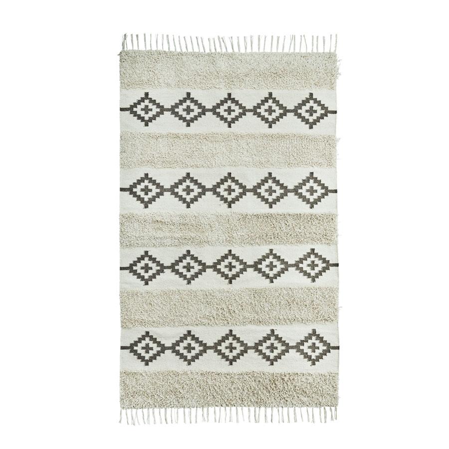 Tapete c/franjas, algodão, 120x180 cm