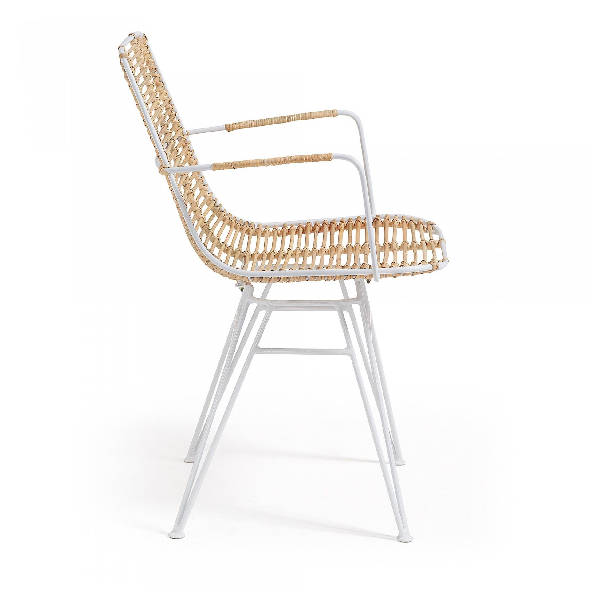 Cadeira c/braços, vime/metal