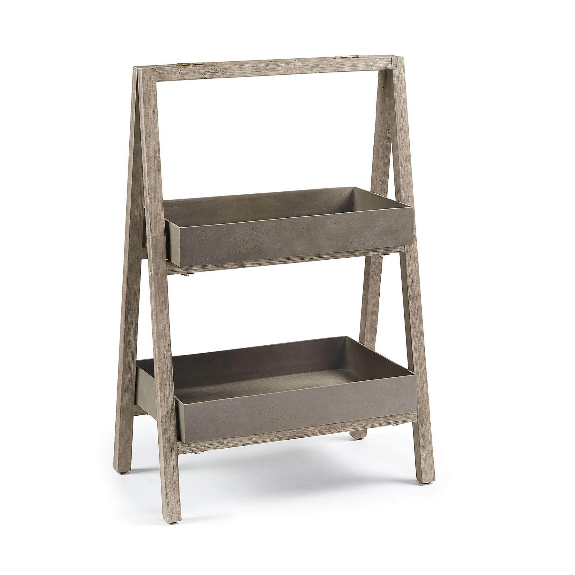 Estante p/vasos, madeira de acácia/poli-cimento, 63x100 cm