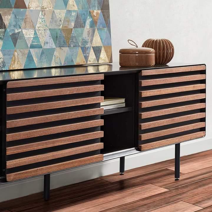 Móvel de TV, madeira de nogueira/MDP lacado, 58x162 cm