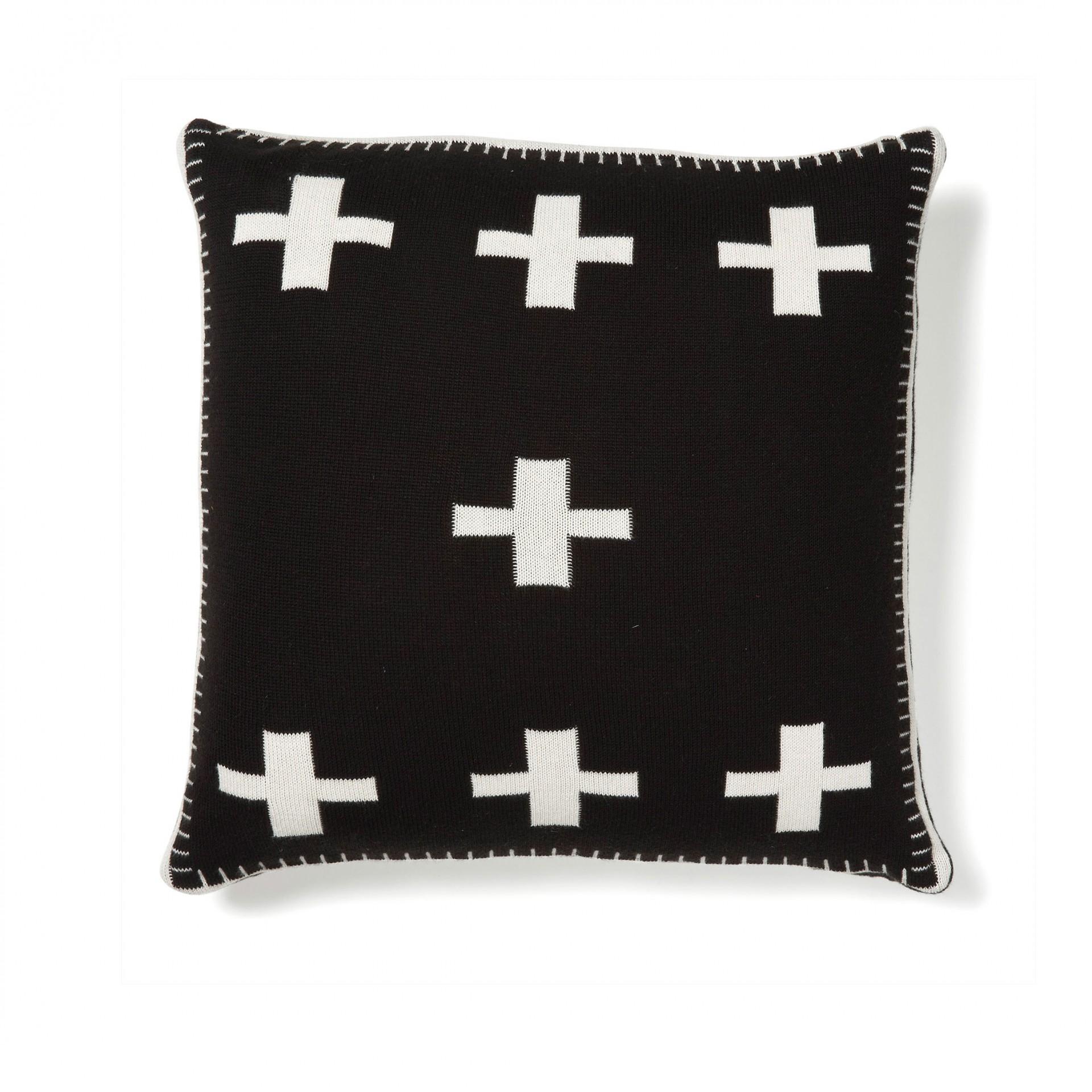 Capa de almofada reversível, preto/branco, 45x45cm