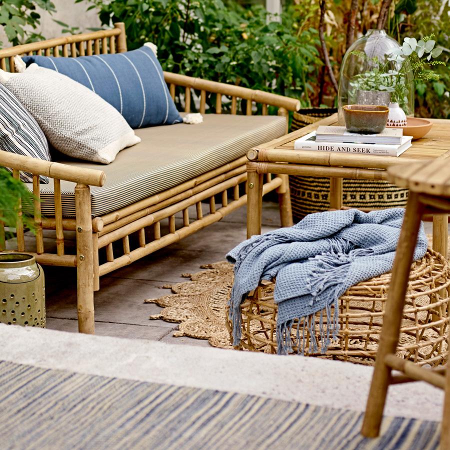 Mesa de centro Bari, cana de bambú, Ø60x35 cm