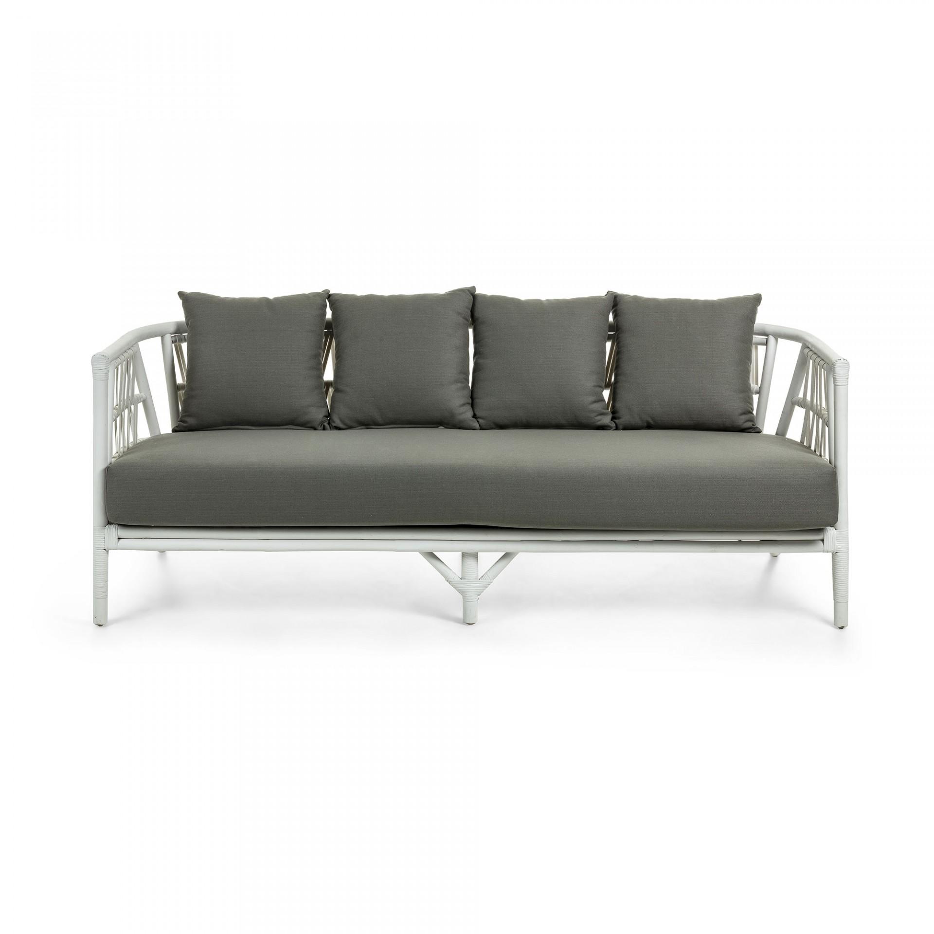 Sofá em vime natural, c/almofadas, 74x188 cm