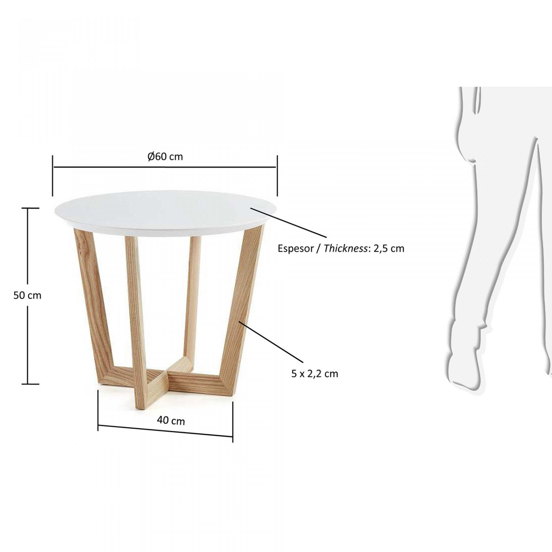 Mesa de apoio em madeira de freixo/MDF lacado, Ø60x50 cm
