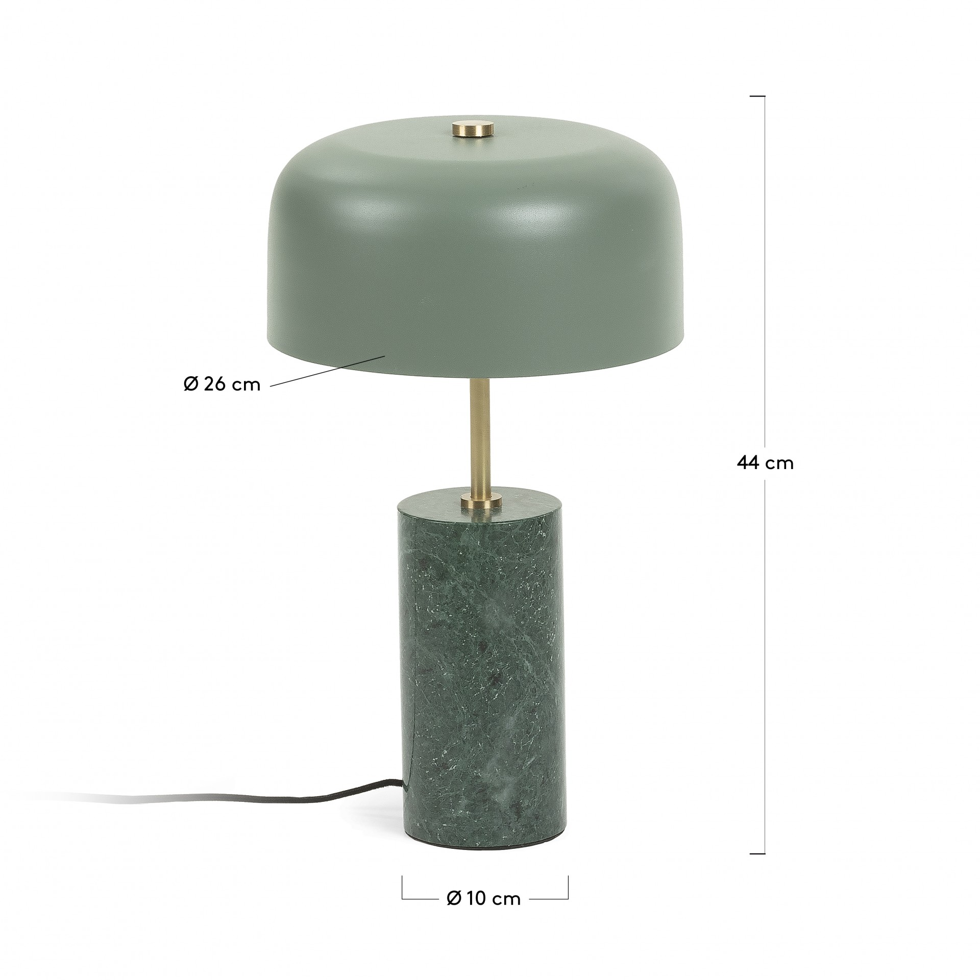 Candeeiro de mesa, metal/mármore, Ø26x44 cm