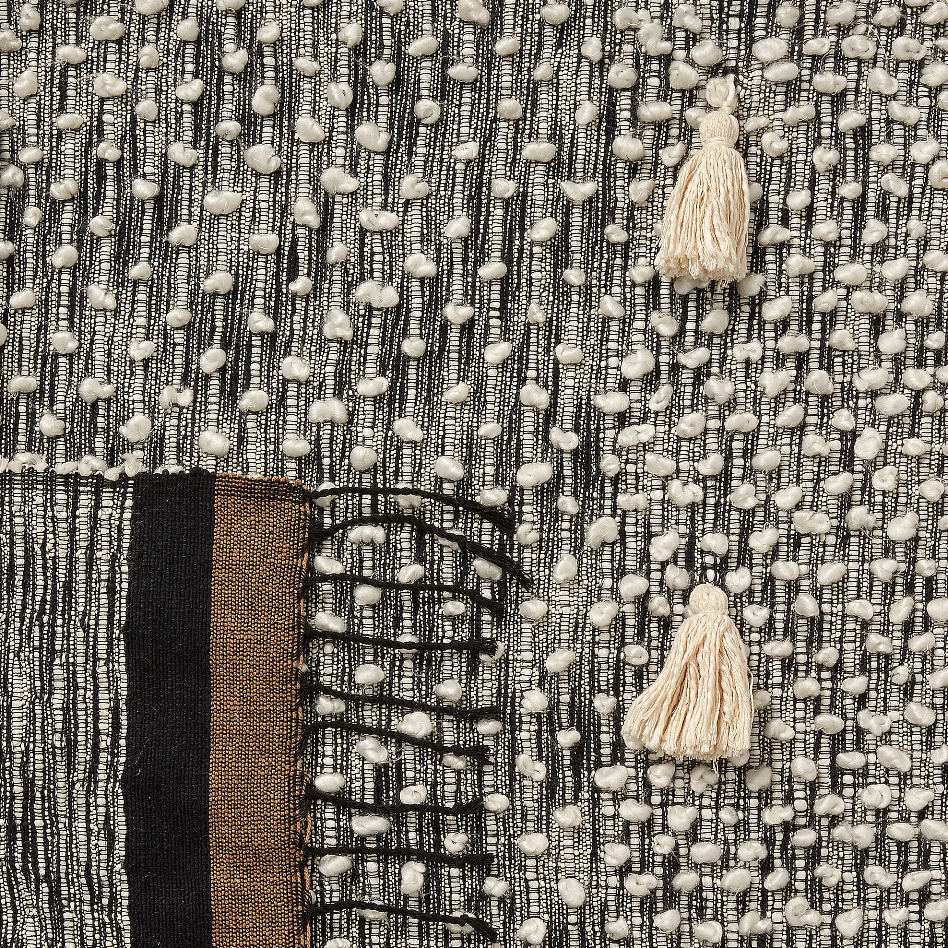 Manta Grivel, c/franjas, algodão, marron/azul/bege, 130x170 cm