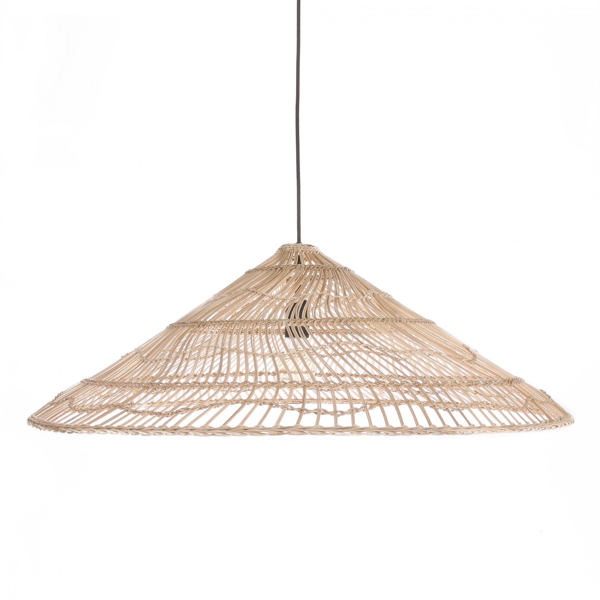 Candeeiro de tecto, vime natural, Ø80x26 cm