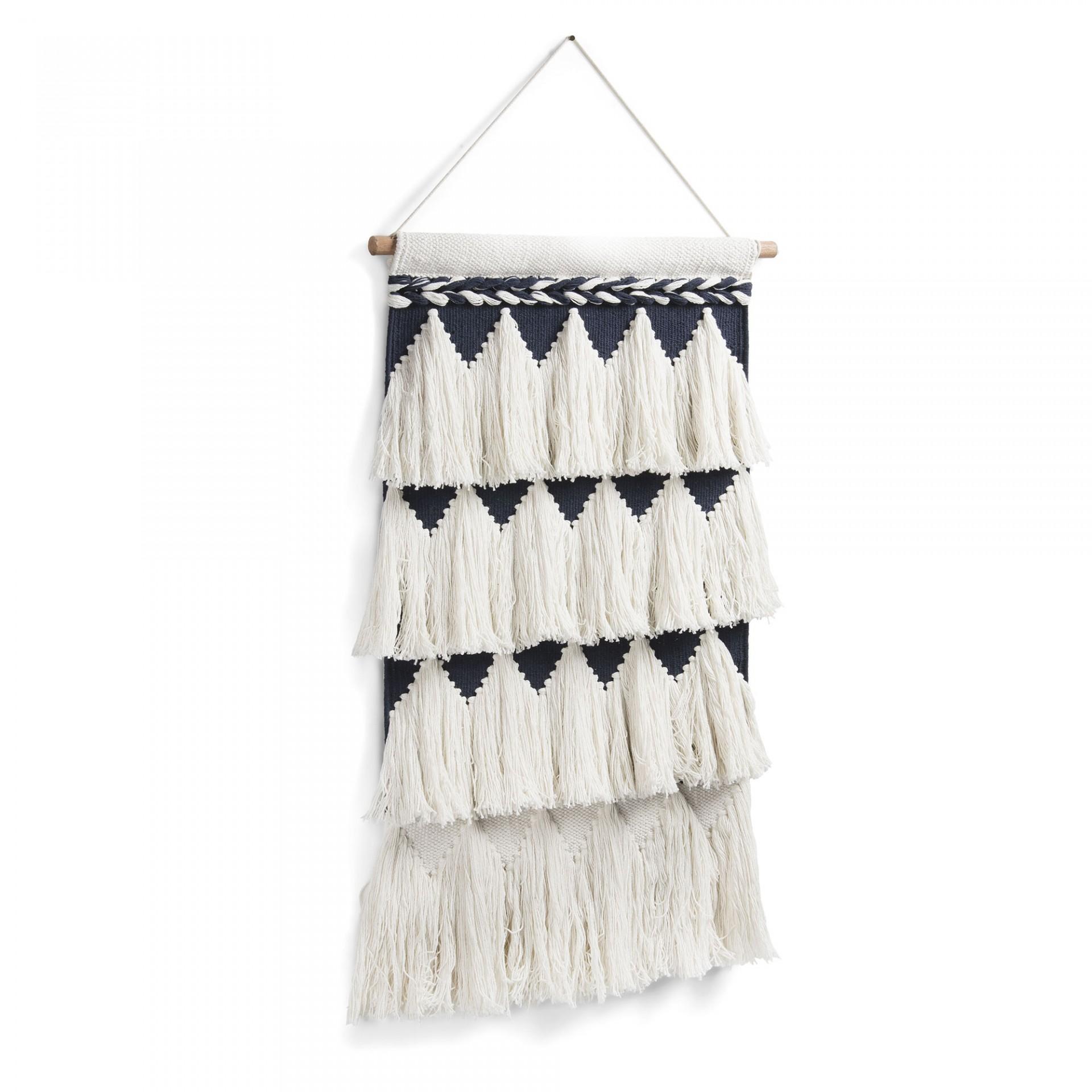 Macramé em lã/algodão, 70x50 cm