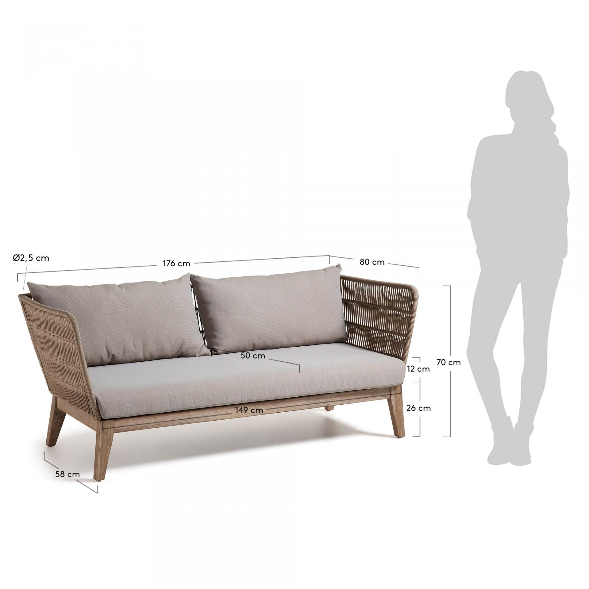 Sofá Bell em madeira de acácia/corda de poliéster, marron, 80x176 cm