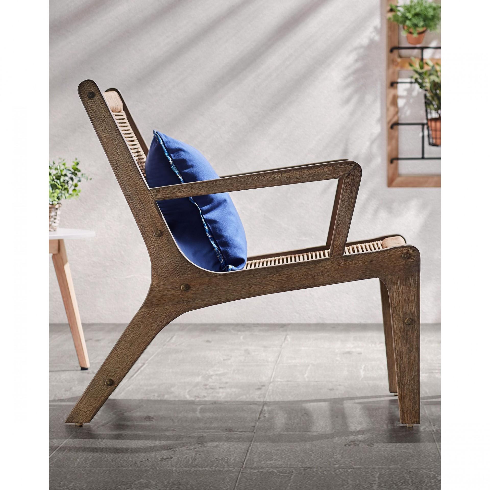 Cadeira c/repousa-pés, madeira de eucalipto/corda poliéster