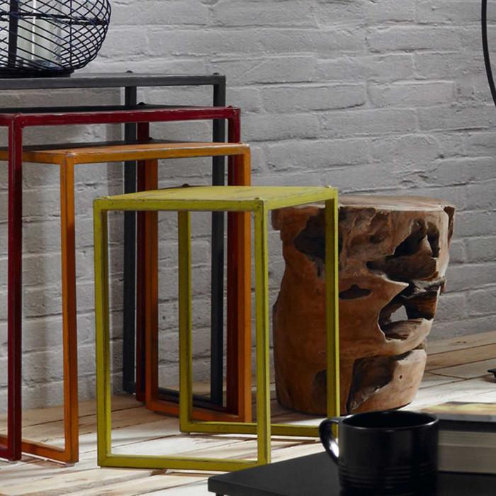 Mesa de apoio em madeira teca natural, Ø35x35 cm