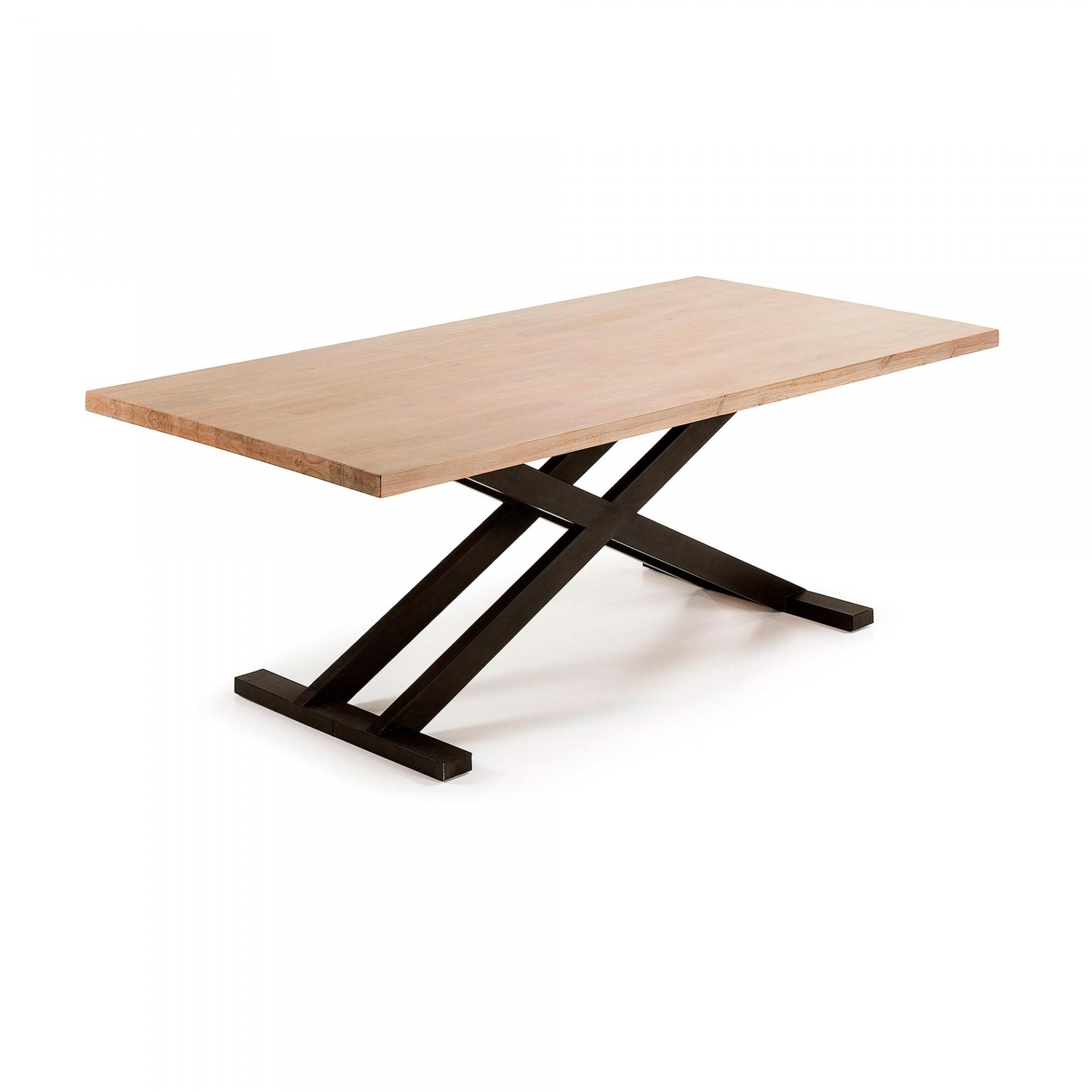 Mesa de jantar, metal/madeira de acácia natural, 160x90 cm