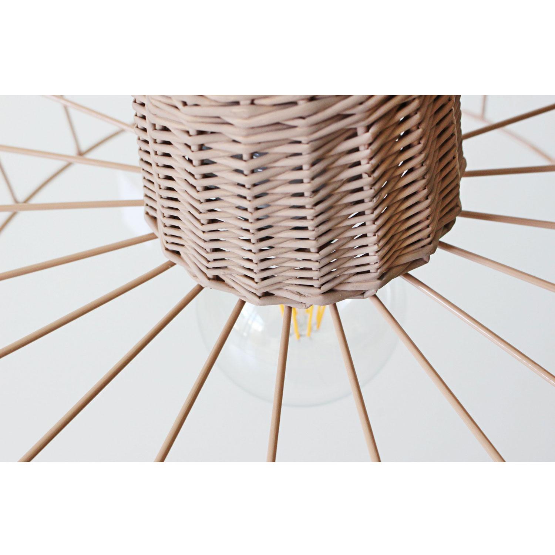 Candeeiro de tecto, vime/metal, Ø35x22 cm