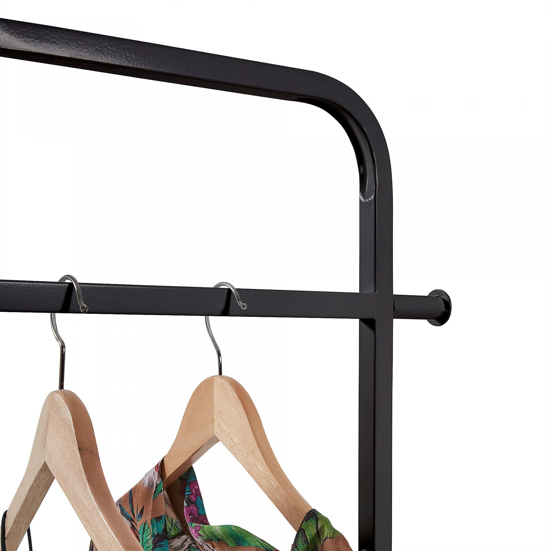 Porta cabides Bent, MDF/metal, preto, 74x180 cm