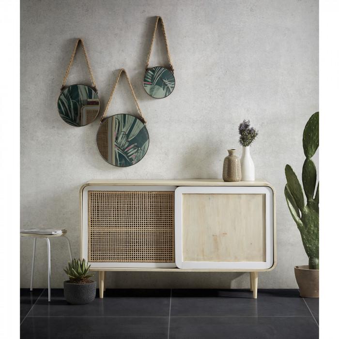 Aparador Geo, madeira de manga natural/cana bambú, 80x135 cm