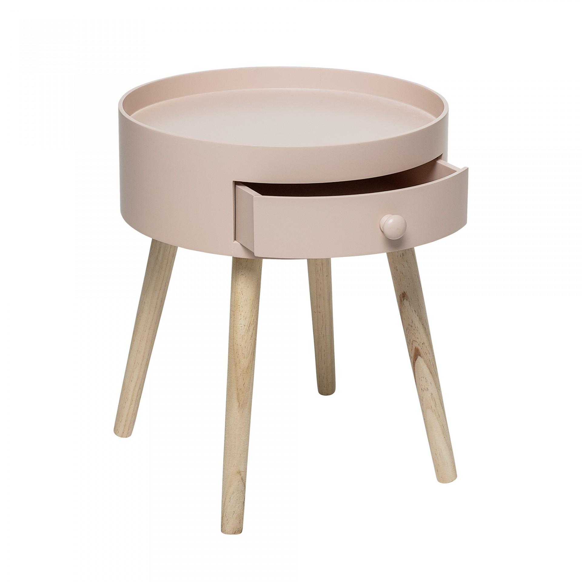 Mesa de apoio, madeira de pinho/MDF lacado, rosa, Ø38x45 cm
