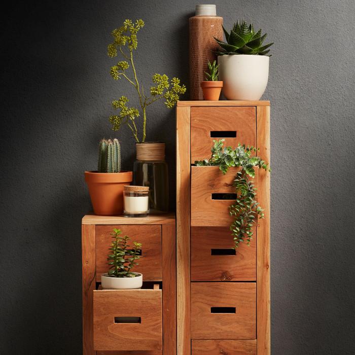 Cómoda em madeira de acácia natural, 28x90 cm
