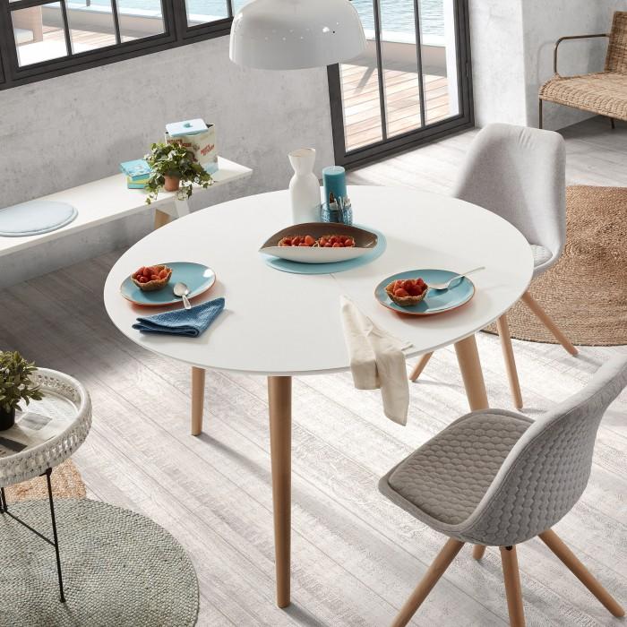 Mesa extensível, madeira faia/MDF lacado, 120(200)x120 cm