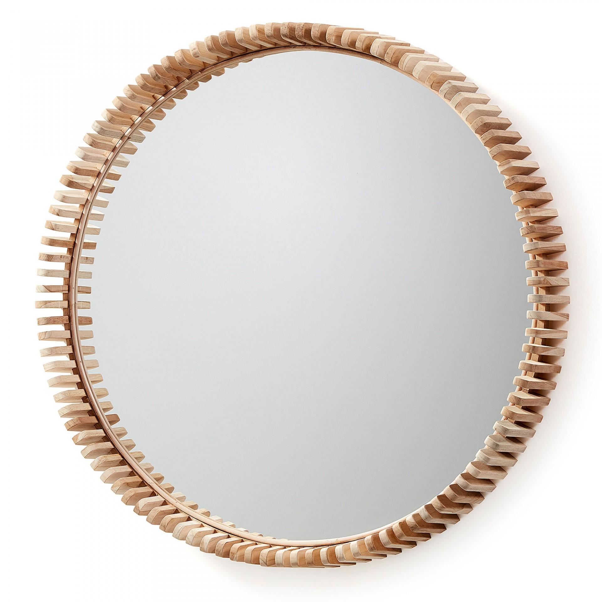 Espelho Polke, madeira teca, Ø85cm