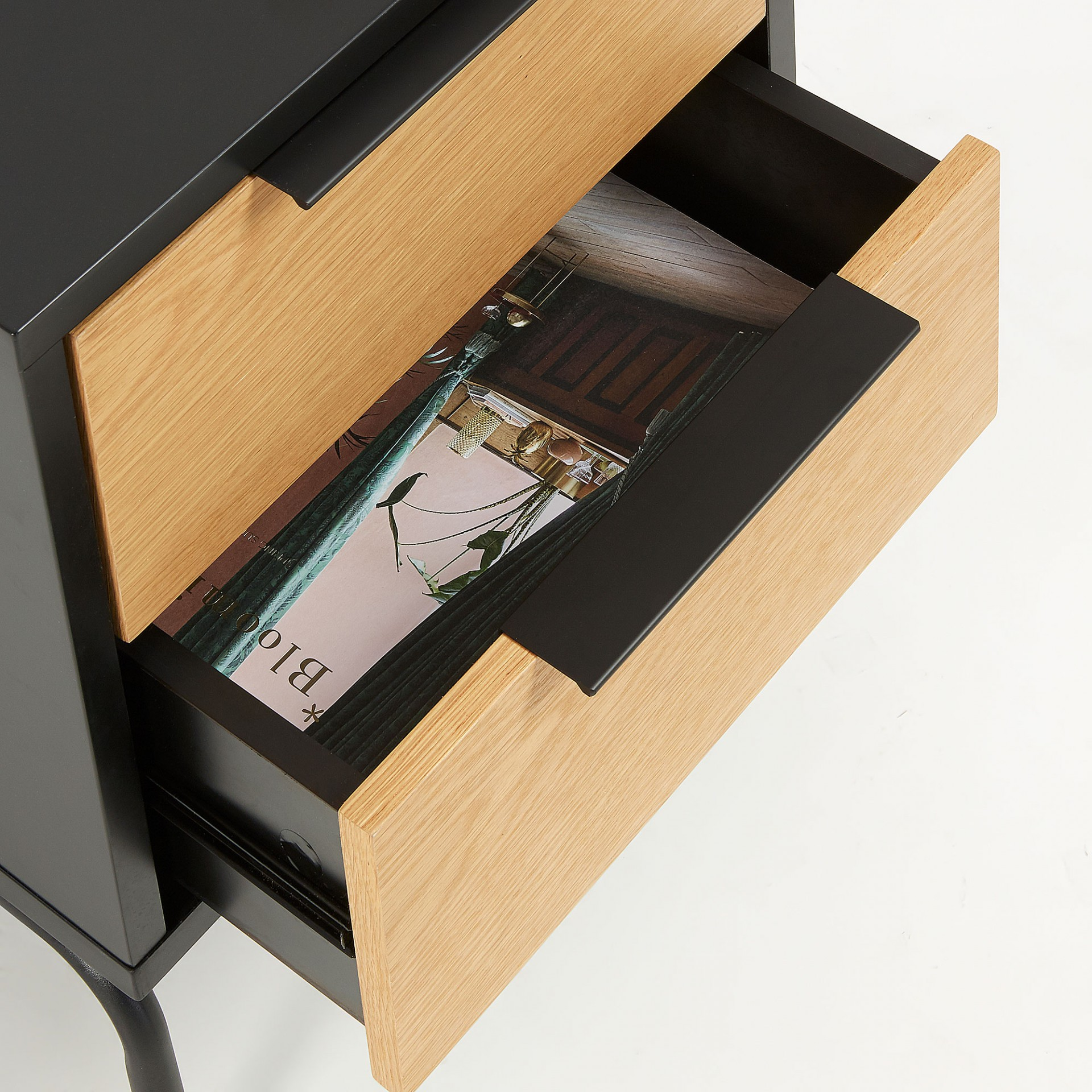 Mesa de cabeceira em madeira de carvalho/MDP lacado, 50x42 cm